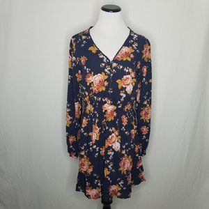 Floral Print LS V-Neck Button-Front Mini Dress